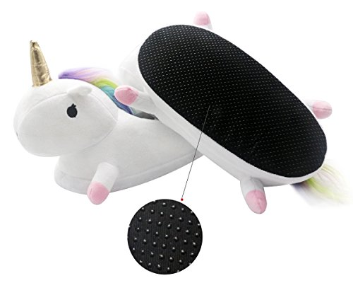3fab7dc62823a5 Chaussons Licorne Adulte Pantoufle Hiver Peluche Unicorn Chaussures ...